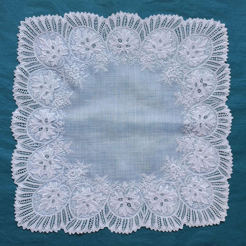 Antique Whitework Embroidered Wedding Handkerchief