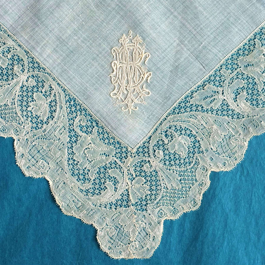 Antique 19th C Handkerchief with 18th C Mechlin Lace Border