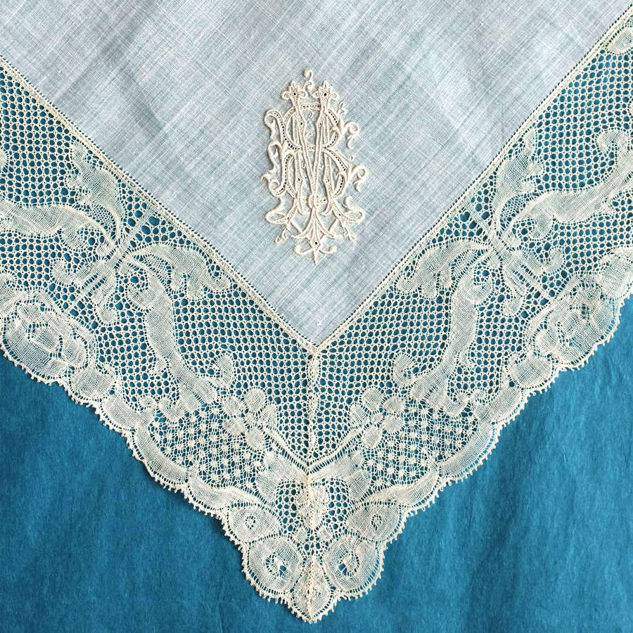Antique 19th C Handkerchief with 18th C Valenciennes Lace Border