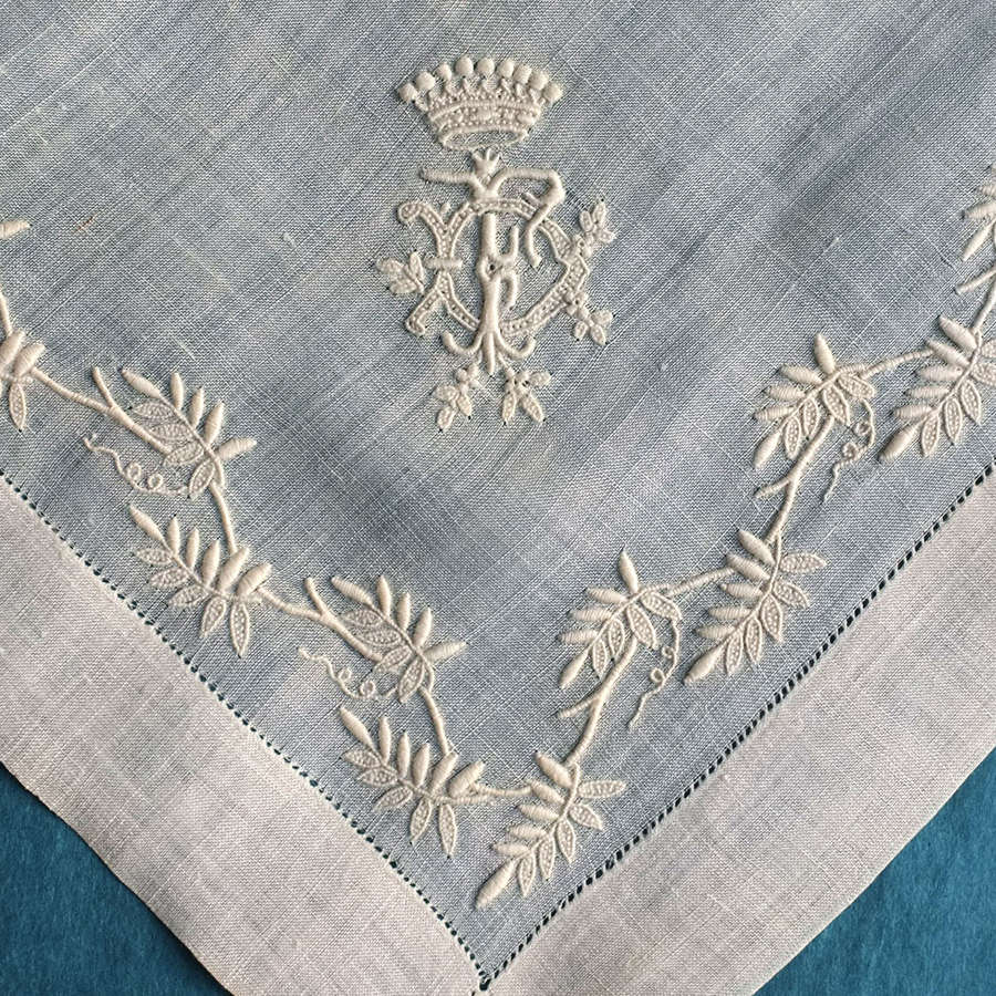 Antique Whitework Handkerchief with Leaf Border and Coronet
