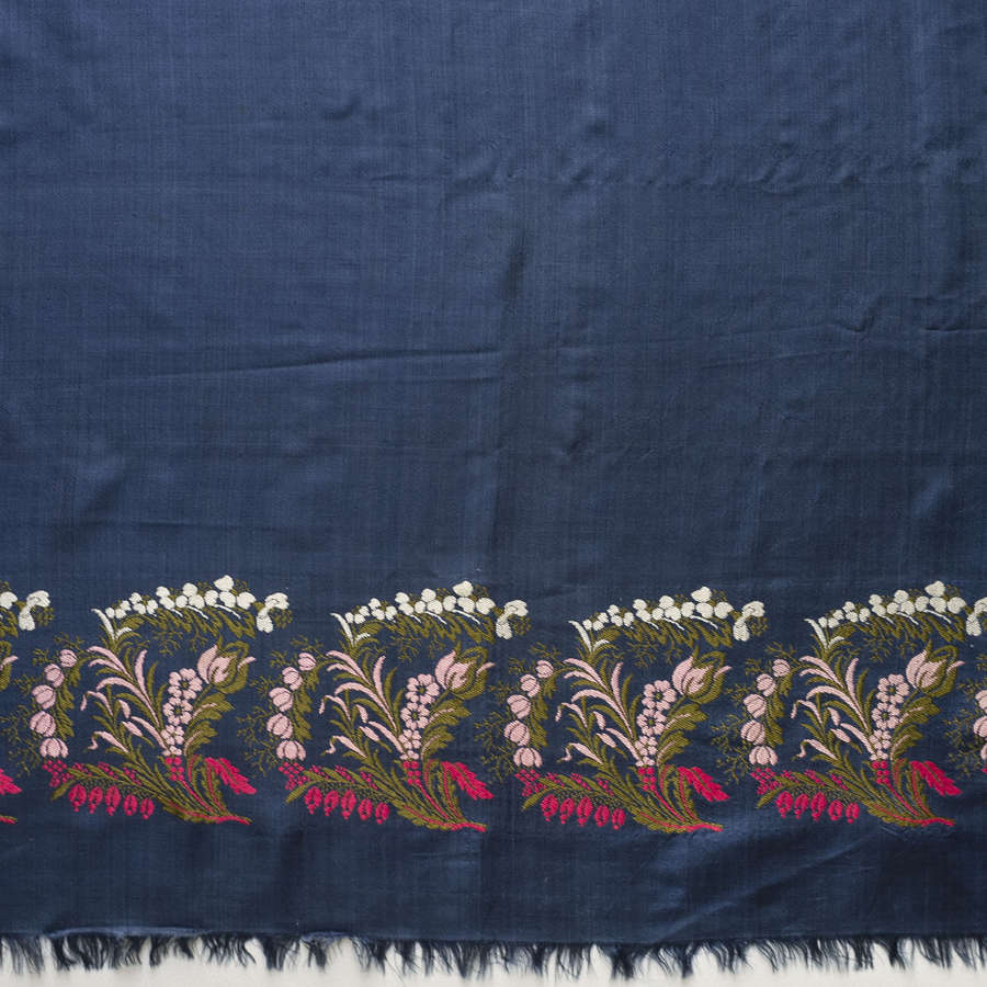 Antique Blue Spitalfields Silk Shawl circa 1820