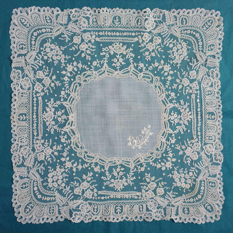 Antique Brussels Applique Handkerchief - Ethelreda