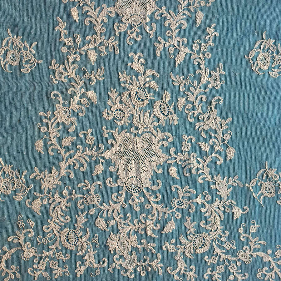 Antique 19th Century Honiton Lace Shawl