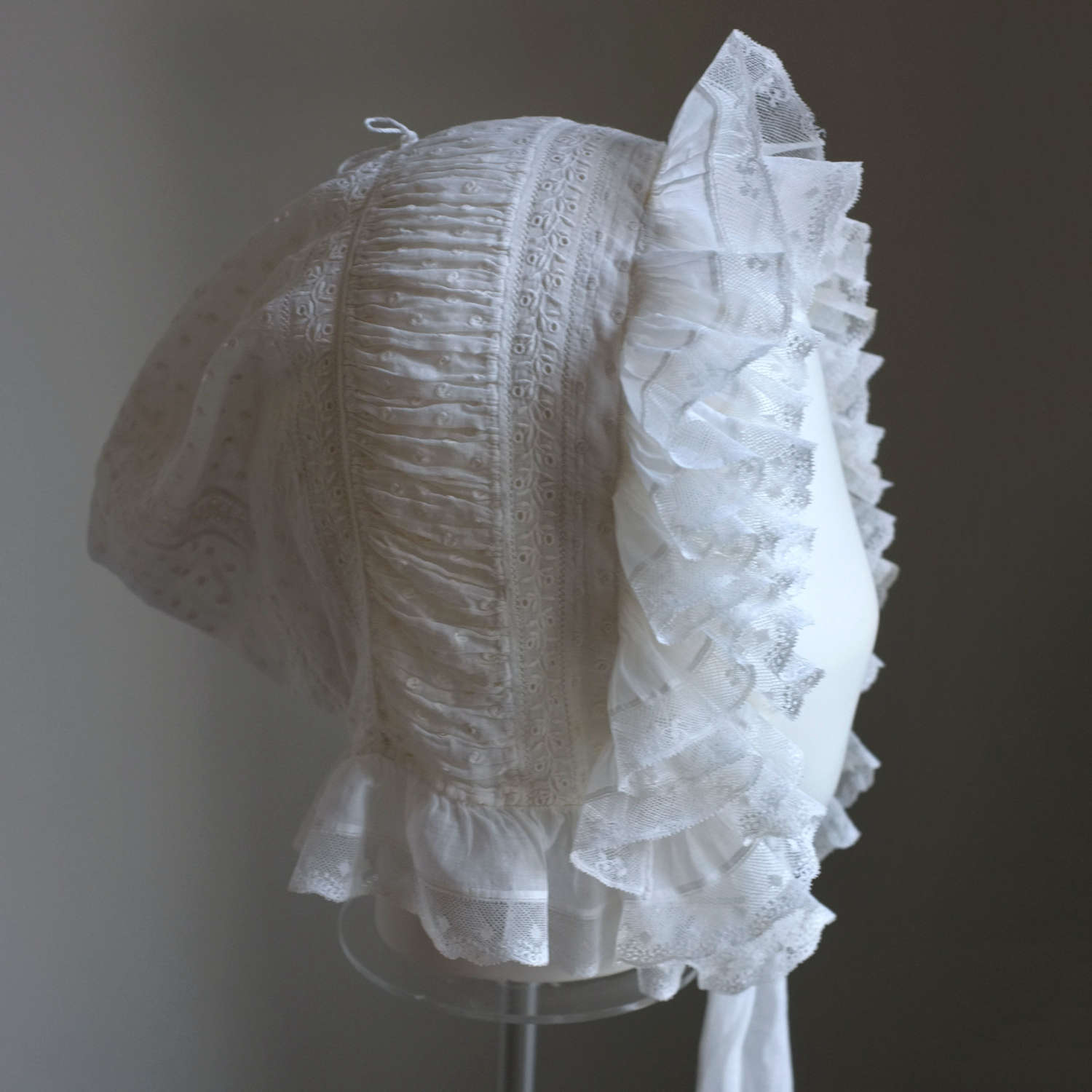 Antique Ruched and Frilled Dotted Muslin Bonnet circa 1820-30