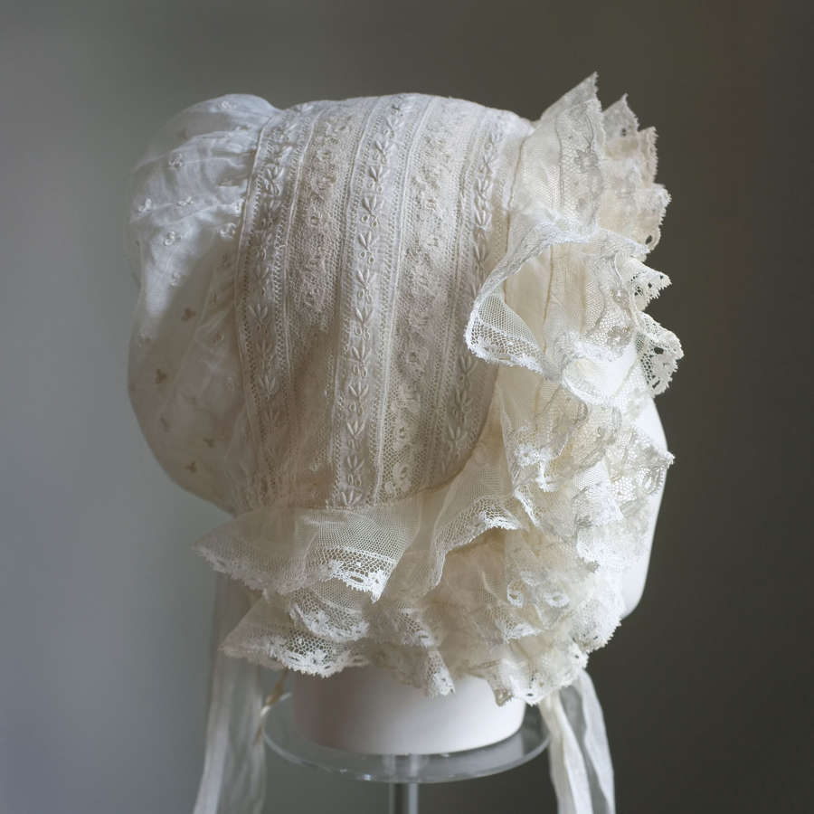 Antique Bucks Lace Sprigged Muslin Bonnet circa 1840