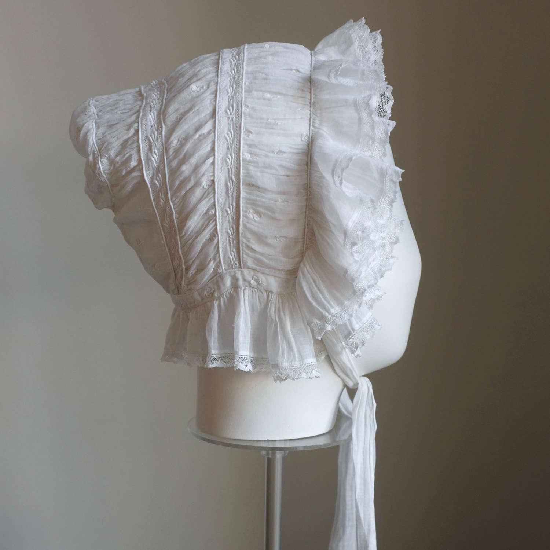 Regency Sprigged Muslin Bonnet circa 1820