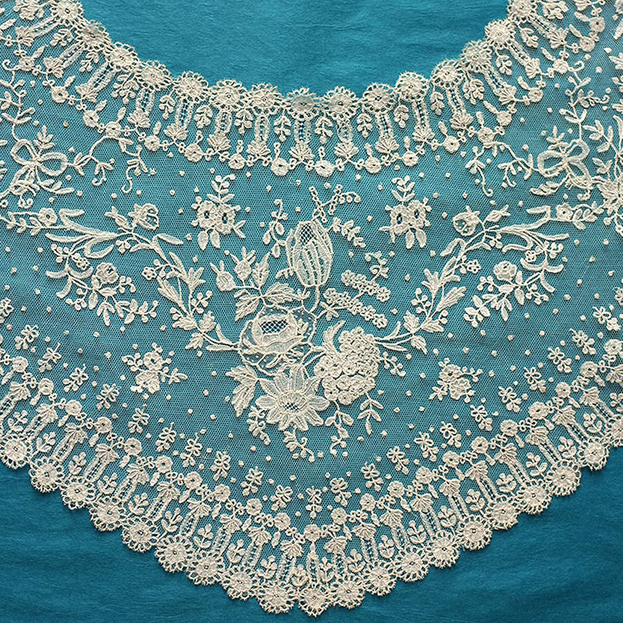 Antique Brussels Applique Lace Shawl Collar