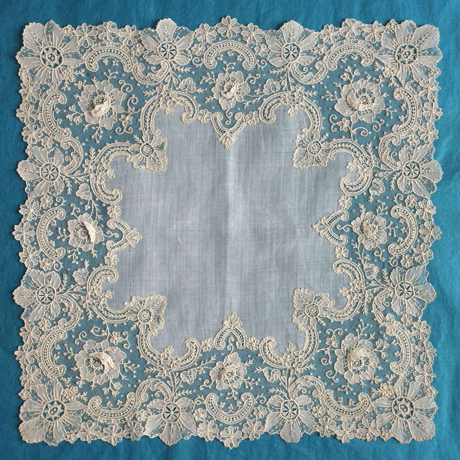 Antique Brussels Point de Gaze Lace Handkerchief