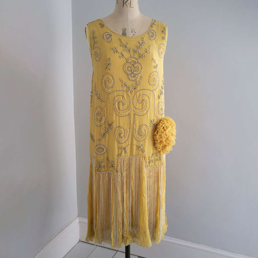 1920s Beaded Yellow Silk Chiffon Dress