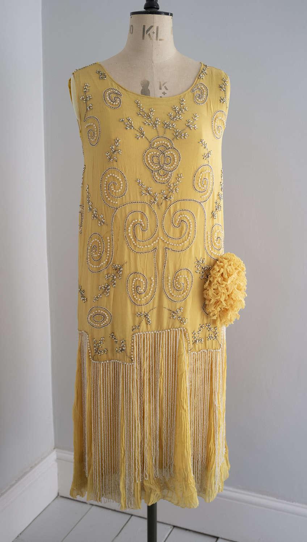 1920s Beaded Yellow Silk Chiffon Dress