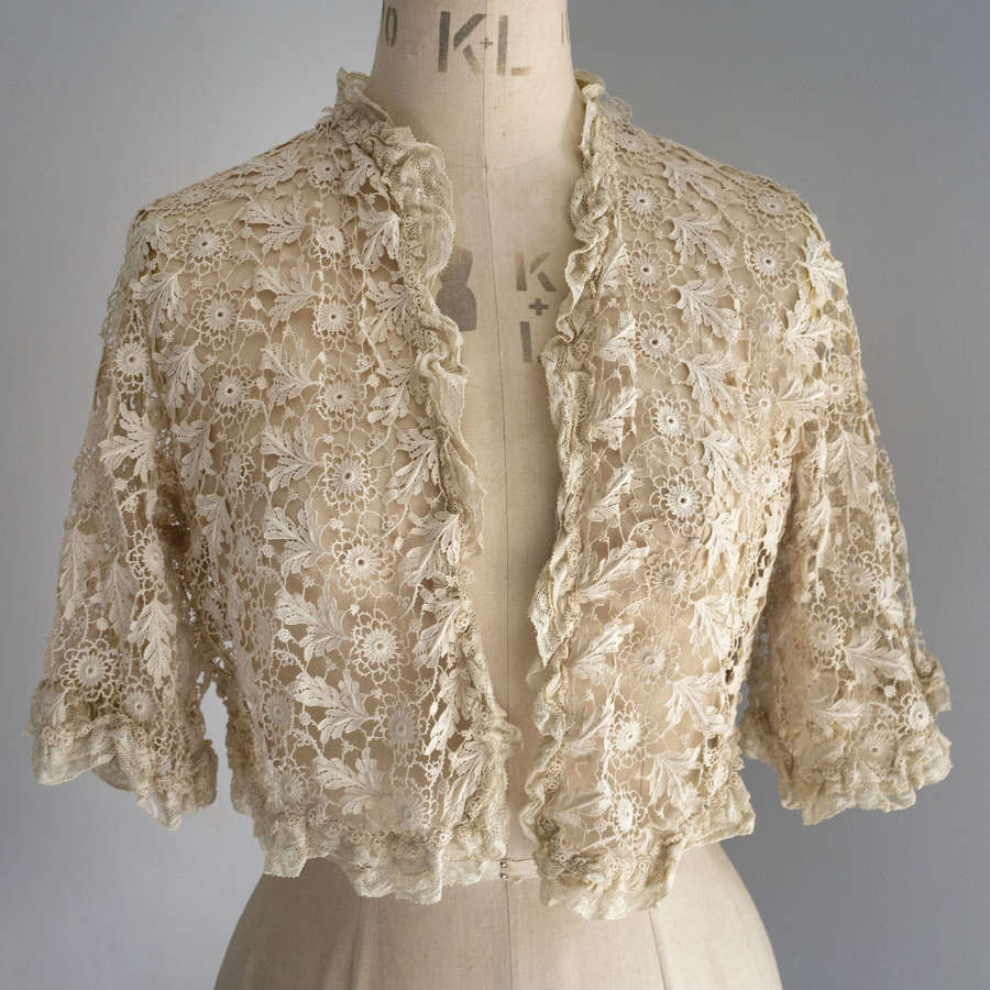 Antique French Machine Guipure Lace Jacket, circa 1910