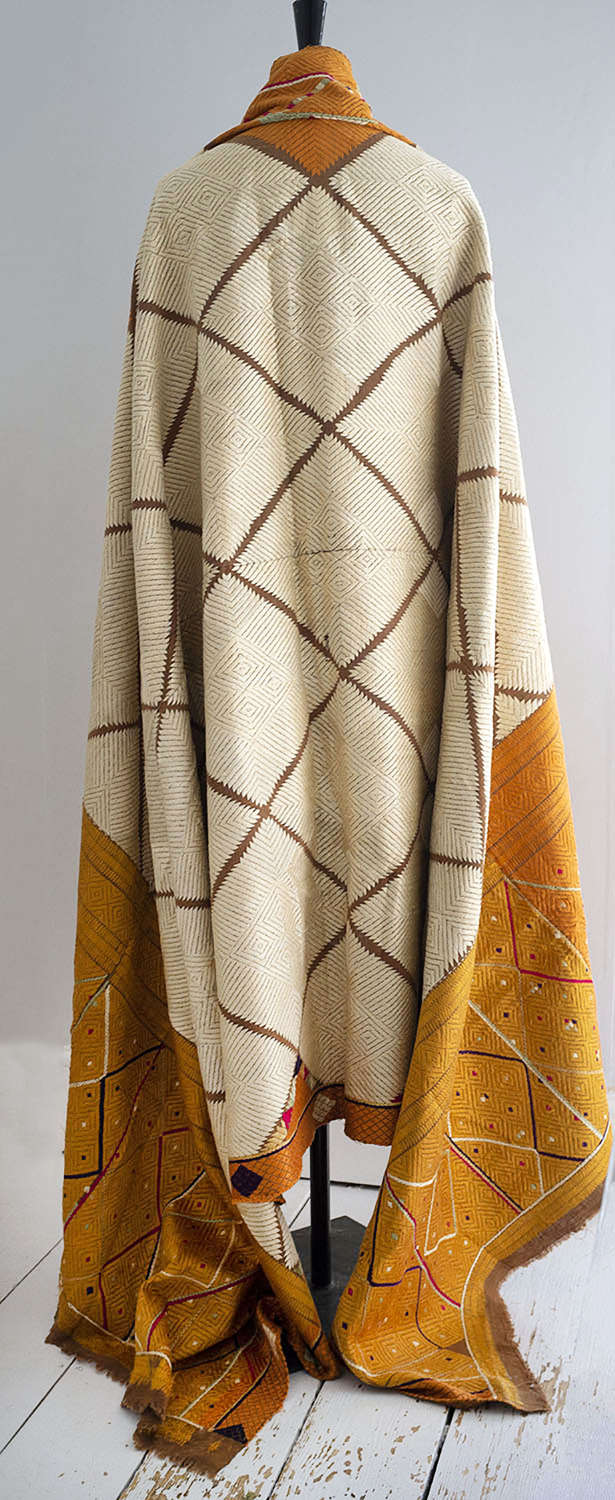 Antique Indian Phulkari Silk Embroidered Shawl