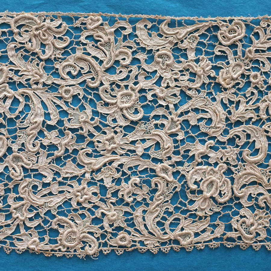 Antique 17th Century Venetian Needle Lace Border
