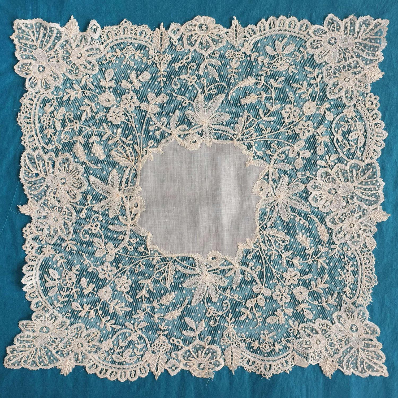 Antique Brussels Applique Lace Handkerchief