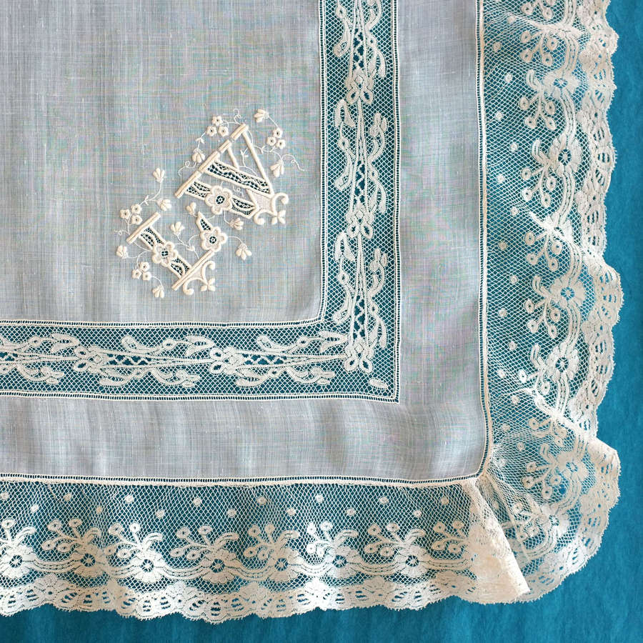 Antique Valenciennes Lace Handkerchief with Monogram