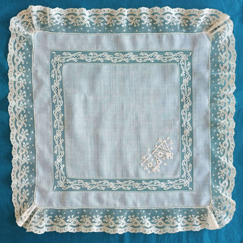 Antique Valenciennes Lace Handkerchief with Monogram