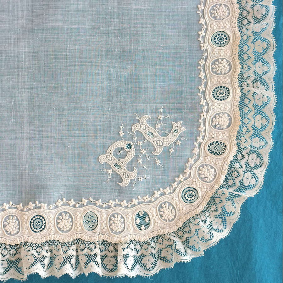 Antique Whitework and Valenciennes Lace Handkerchief
