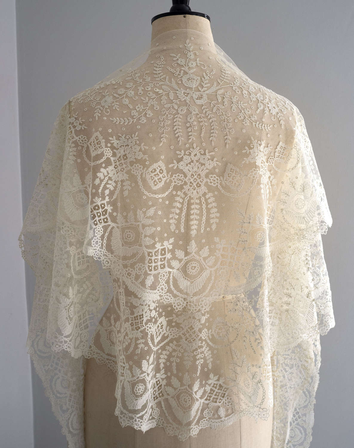 Antique Brussels Applique Lace Shawl Circa 1860