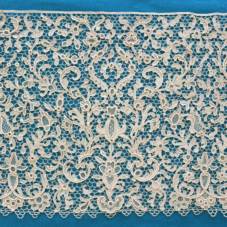 Antique French Needlepoint Lace Border circa 1890