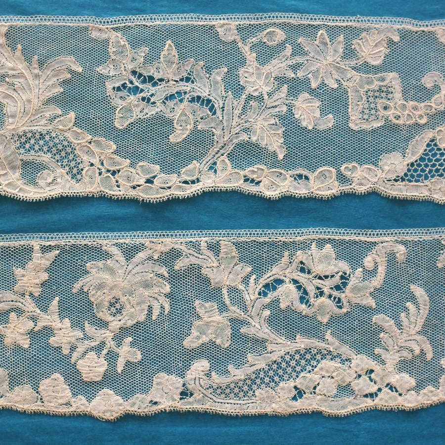 Antique 18th Century Brussels Bobbin Lace Border