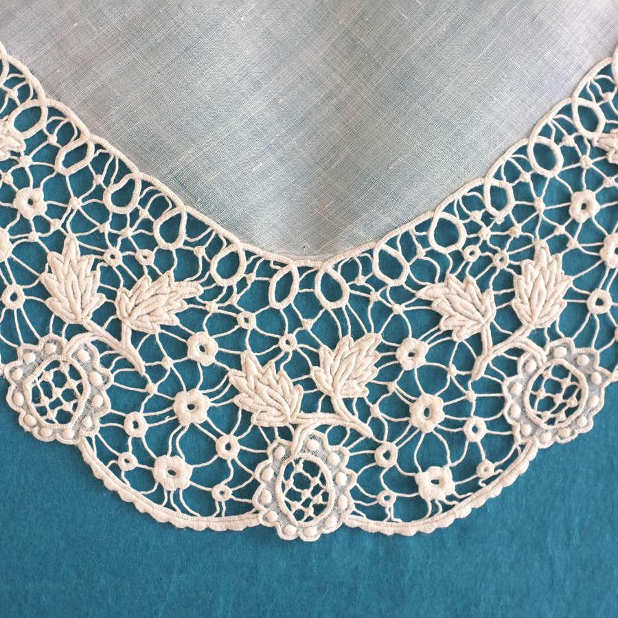 Antique Renaissance Guipure Embroidered Handkerchief