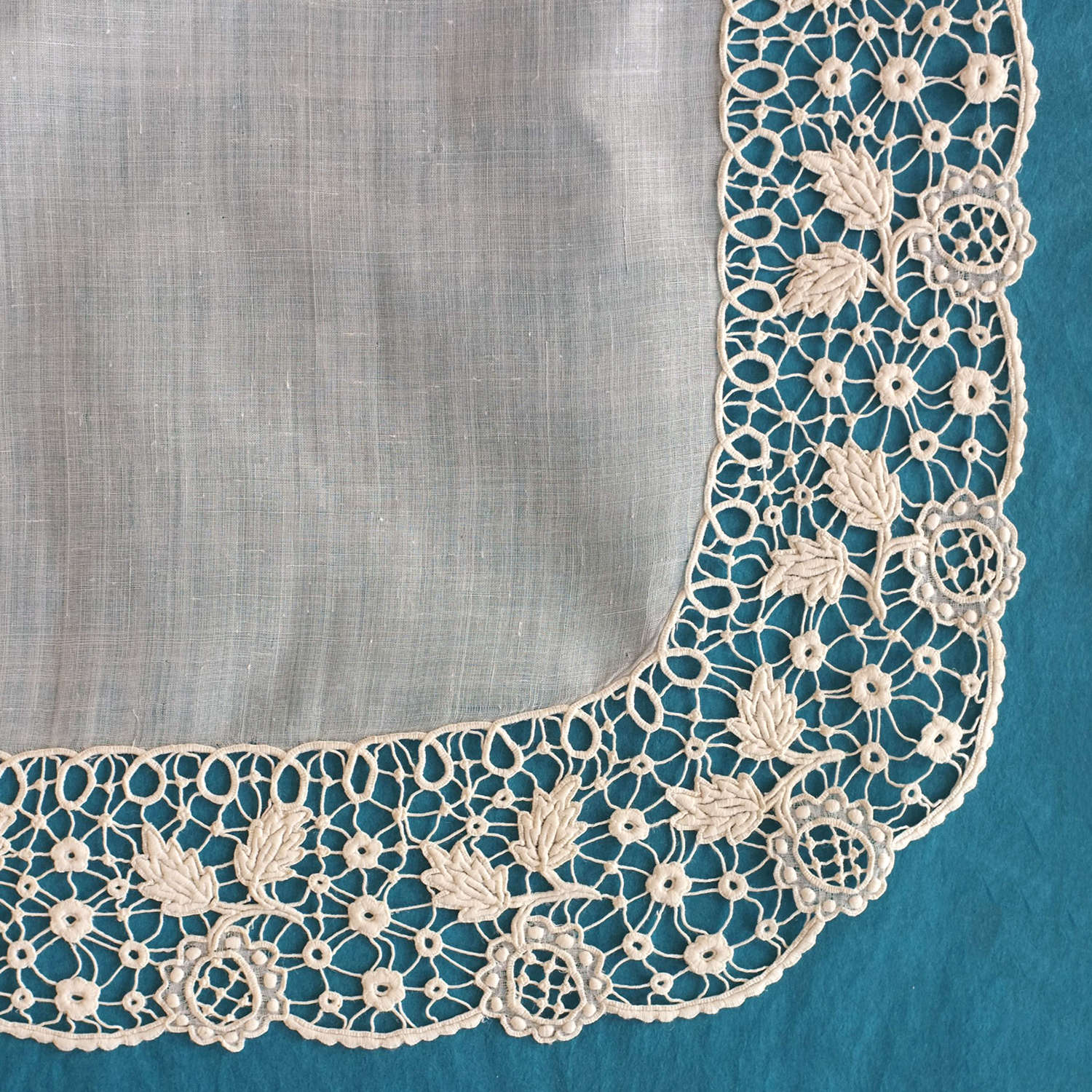 Antique Renaissance Guipure Embroidered Handkerchief