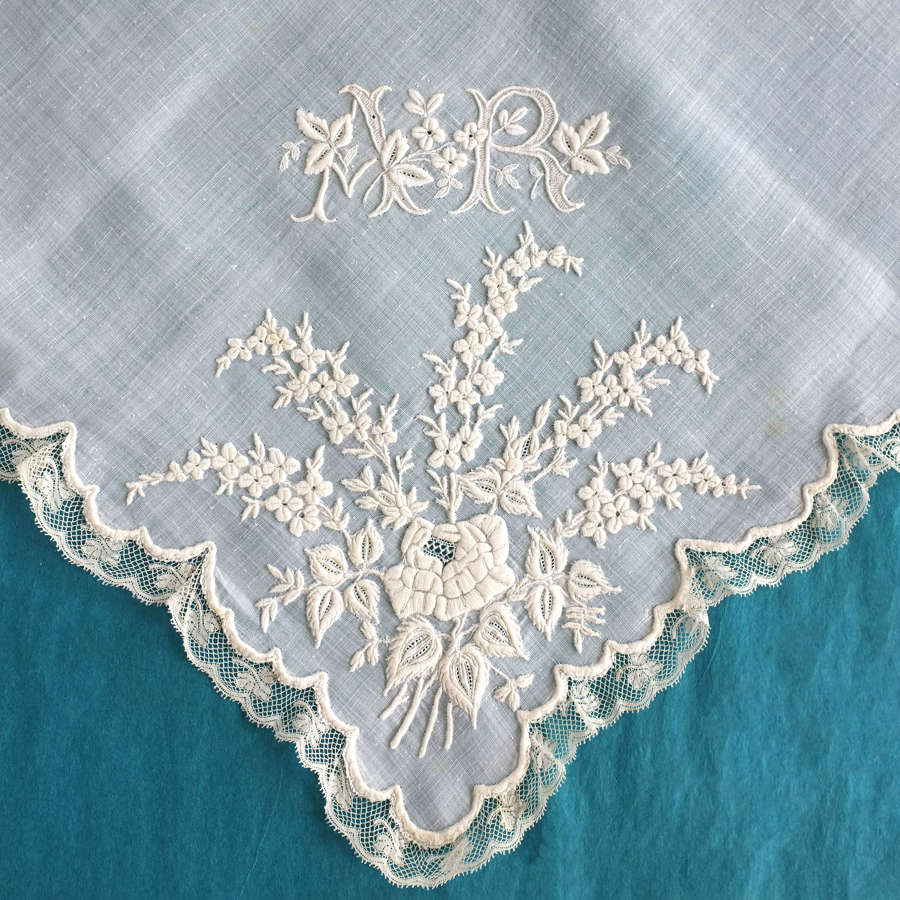 Antique Whitework Applique Handkerchief - Maison Cheuvreux