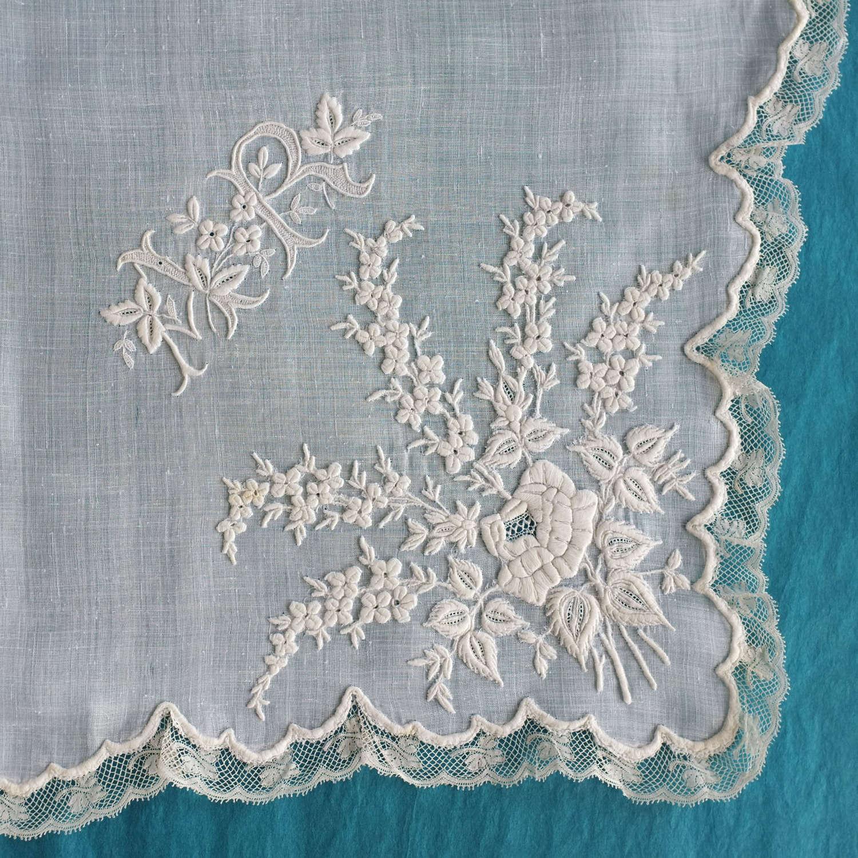 Antique Whitework Applique Handkerchief - Maison Cheuvreux