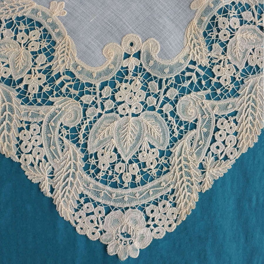Antique Brussels Duchesse Lace Handkerchief