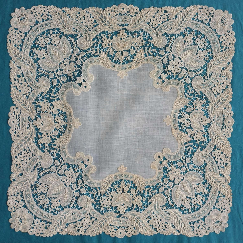 Antique Brussels Duchesse Lace Handkerchief