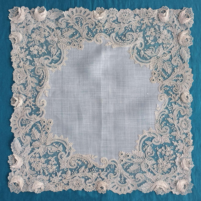 Antique Brussels Point de Gaze Lace Handkerchief