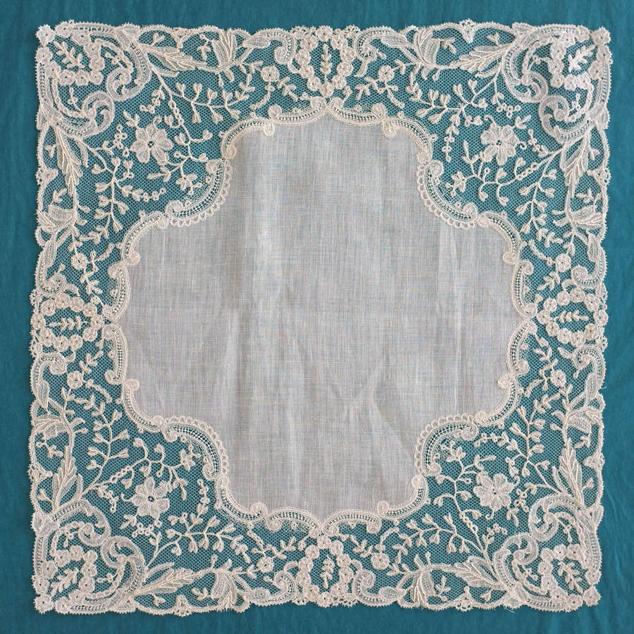 Antique Brussels Applique Lace Handkerchief