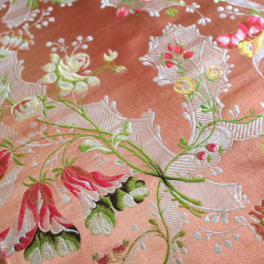 Antique 18th Century Brocaded Silk Panel, circa 1760 - 1770