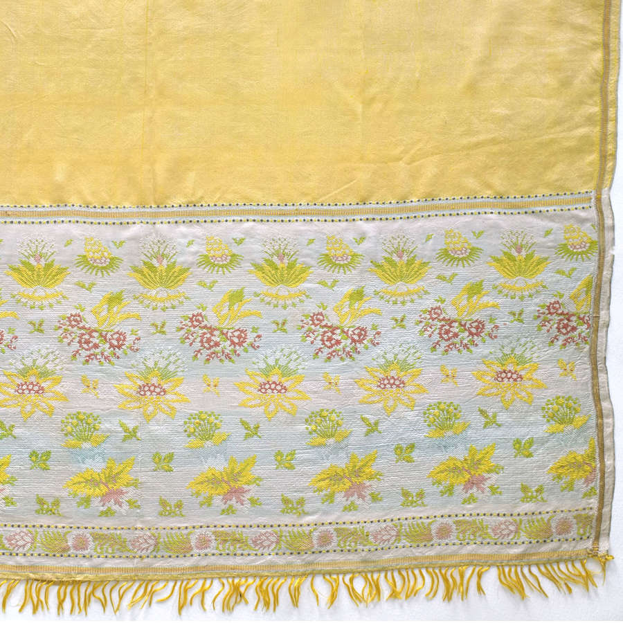 Antique Spitalfields Yellow Silk Shawl, circa 1820