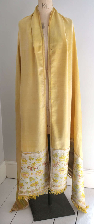 Antique Spitalfields Yellow Silk Shawl, circa 1820