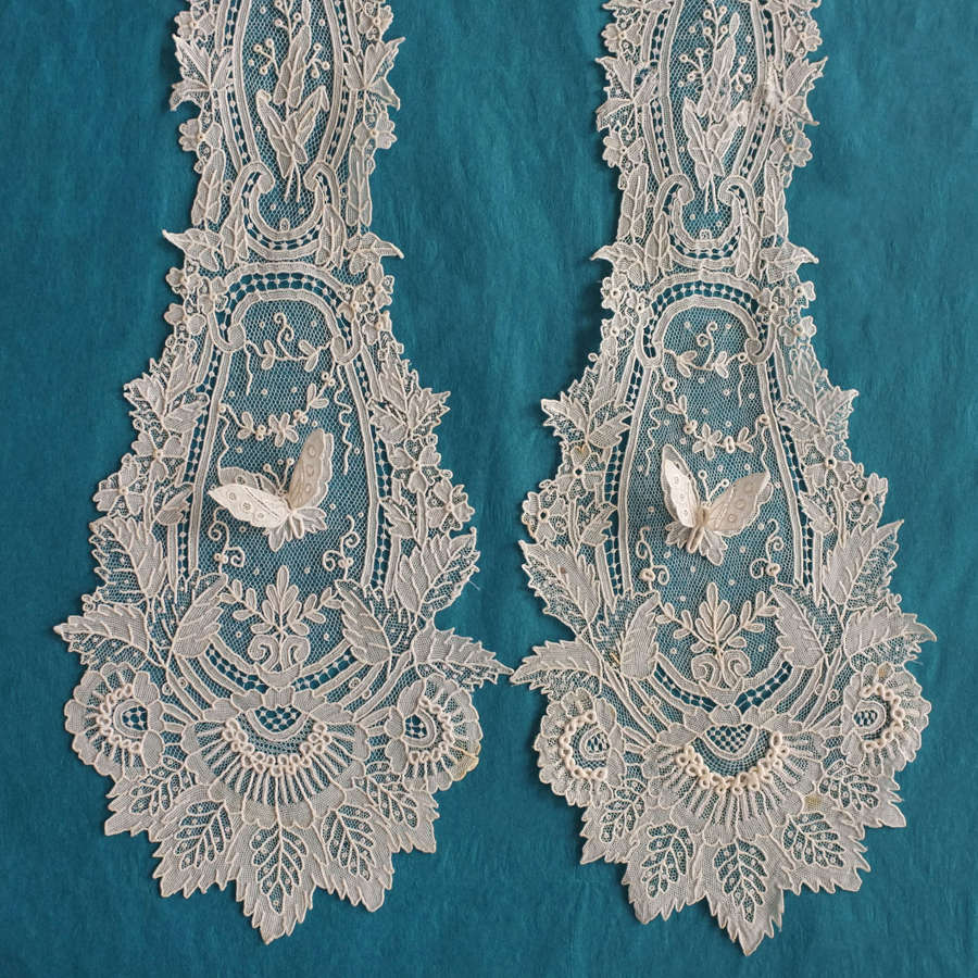Antique Brussels Point de Gaze Lace Lappet with Butterflies