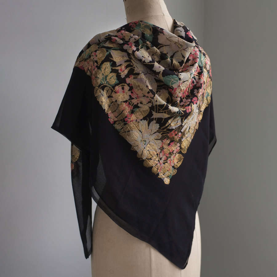 Antique 1920s Silk Georgette and Gold Lame Shawl