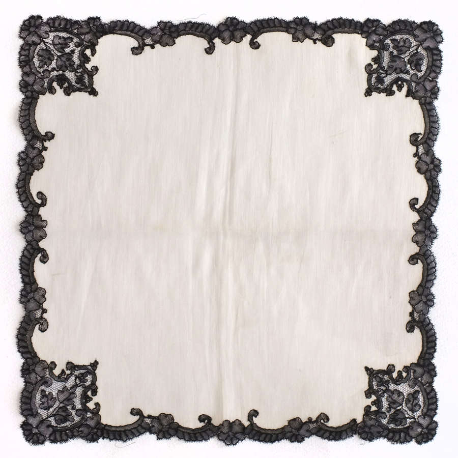 Antique 19th Century Mourning Handkerchief with Black Lace Border