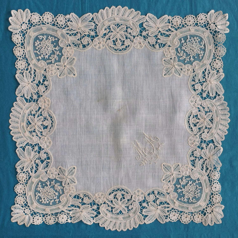 Antique Brussels Duchesse and Point de Gaze Handkerchief