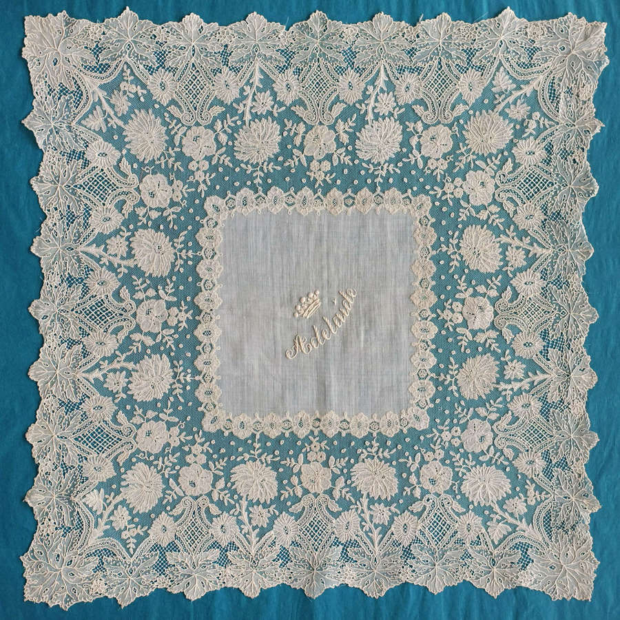 Antique Brussels Bobbin and Needle Lace Handkerchief 'Adelaide'