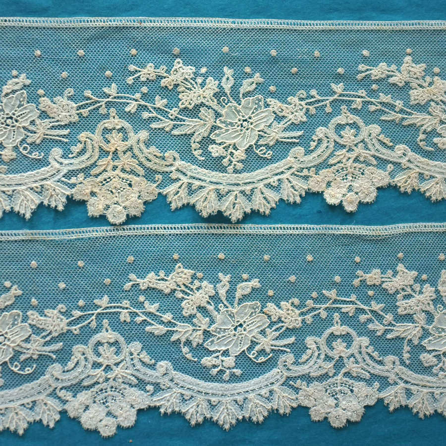 Antique 19th Century Brussels Mixed Lace Border