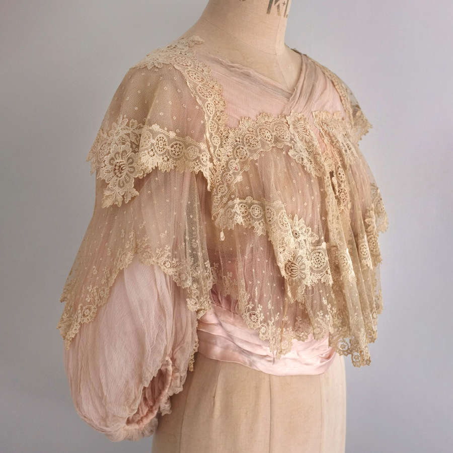 Antique Edwardian Pink Silk Chiffon and Lace Bodice circa 1905-07