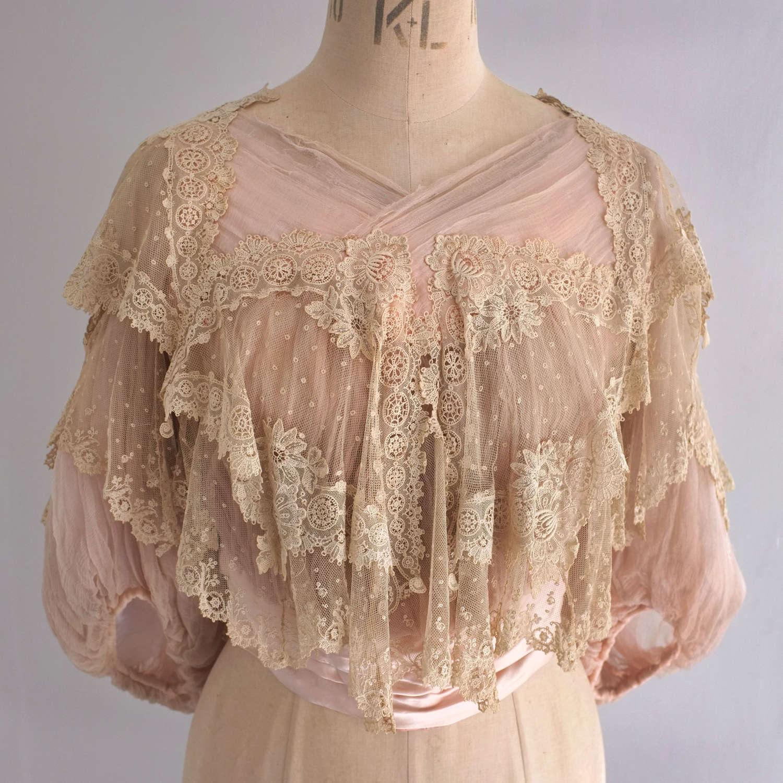Antique Edwardian Pink Silk Chiffon and Lace Bodice circa 1905-07
