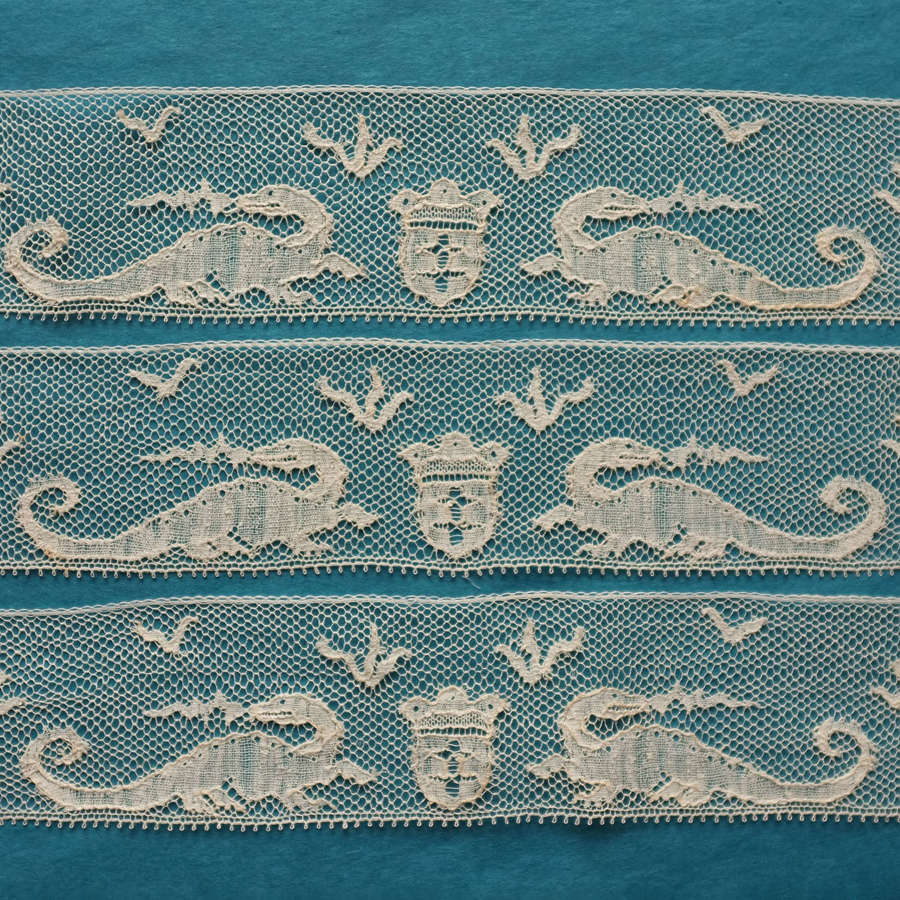 Antique French Machine Lace Border - Dragons & Crest