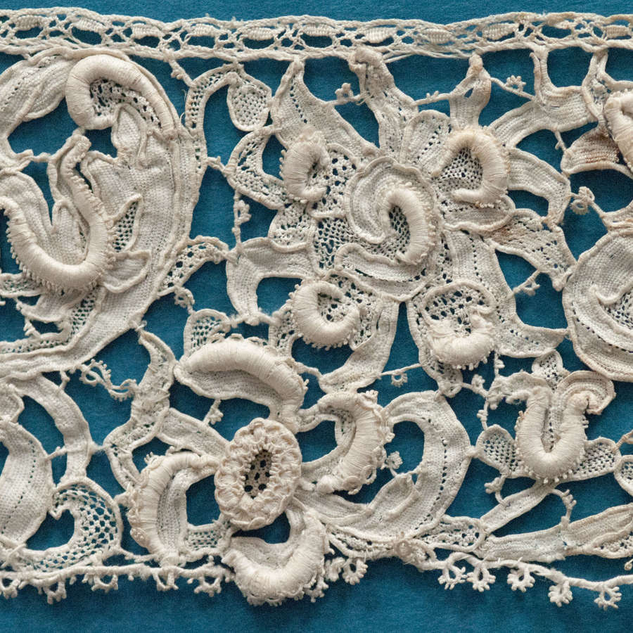 Antique Late 17th Century Gros Point De Venise Needle Lace Border