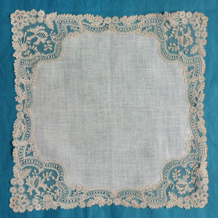 Antique Point d'Angleterre Lace Handkerchief