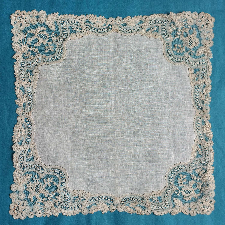 Antique Point d'Angleterre Lace Handkerchief