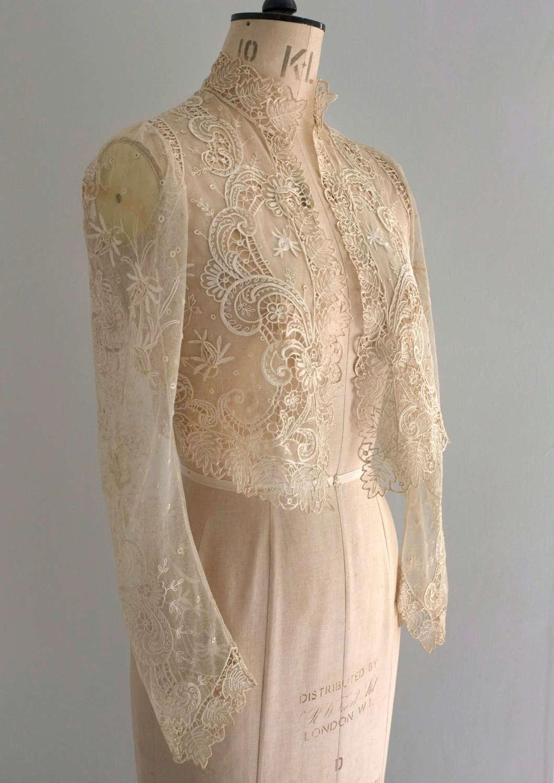Antique Edwardian Tambour Lace Jacket with Applique Roses