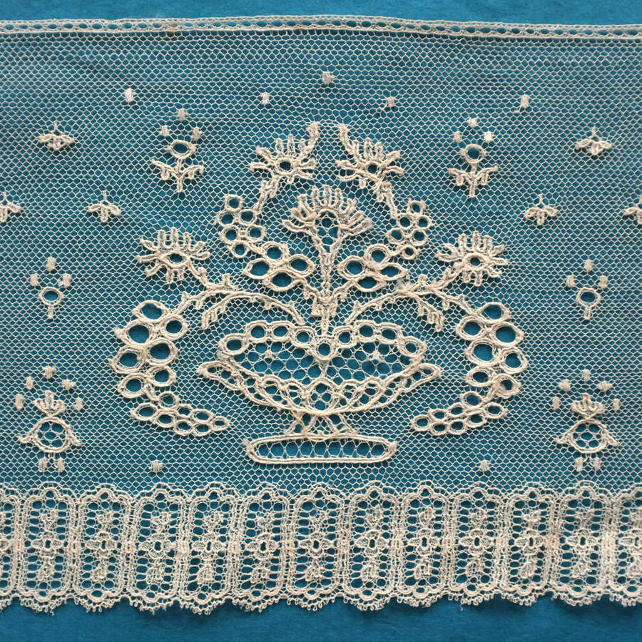 Antique 19th Century French Machine Lace Border