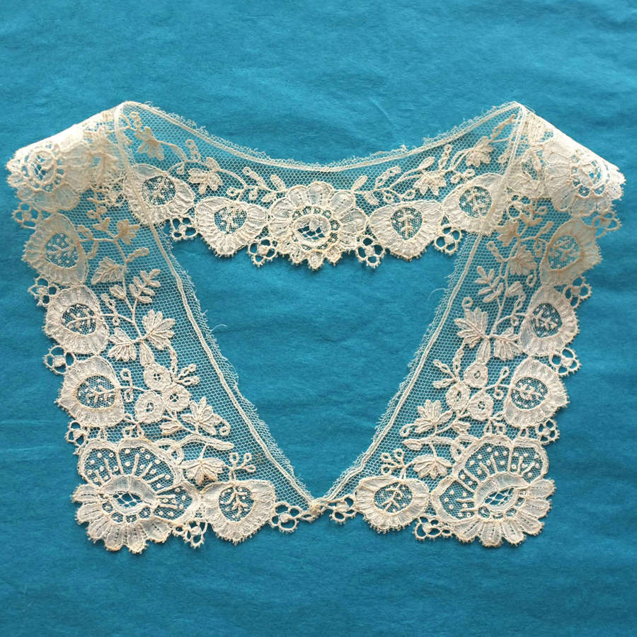 Antique Brussels Applique Lace Collar circa 1860